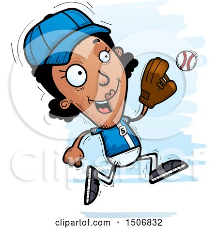 Clipart of a Running Black Female Baseball Player - Royalty Free Vector Illustration by Cory Thoman