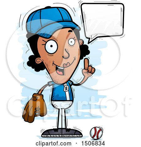 Clipart of a Talking Black Female Baseball Player - Royalty Free Vector Illustration by Cory Thoman