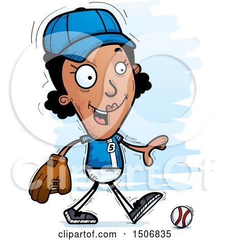 Clipart of a Walking Black Female Baseball Player - Royalty Free Vector Illustration by Cory Thoman