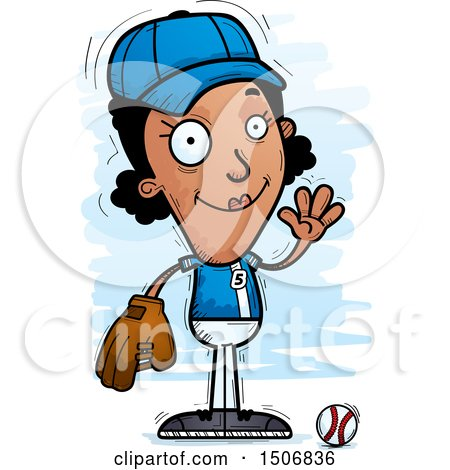Clipart of a Waving Female Baseball Player - Royalty Free Vector Illustration by Cory Thoman