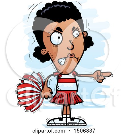Clipart of a Mad Pointing Black Female Cheeleader - Royalty Free Vector Illustration by Cory Thoman