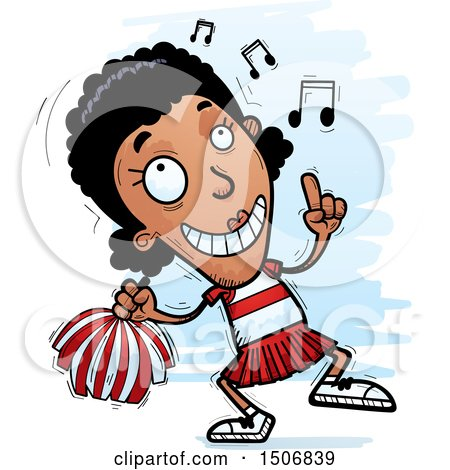 Clipart of a Happy Dancing Black Female Cheeleader - Royalty Free Vector Illustration by Cory Thoman