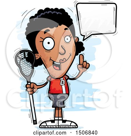 Clipart of a Talking Black Female Lacrosse Player - Royalty Free Vector Illustration by Cory Thoman