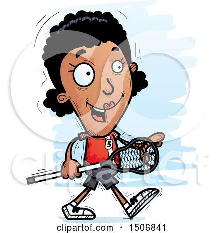Clipart of a Walking Black Female Lacrosse Player - Royalty Free Vector Illustration by Cory Thoman