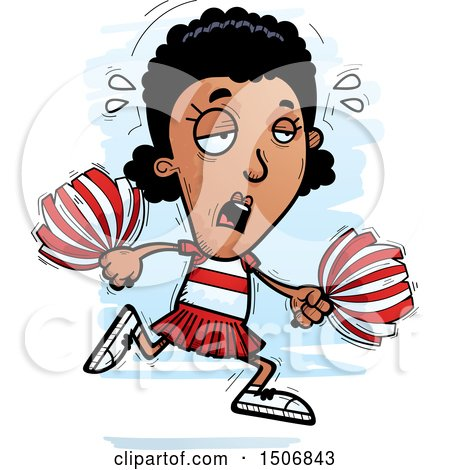 Clipart of a Tired Black Female Cheeleader - Royalty Free Vector Illustration by Cory Thoman