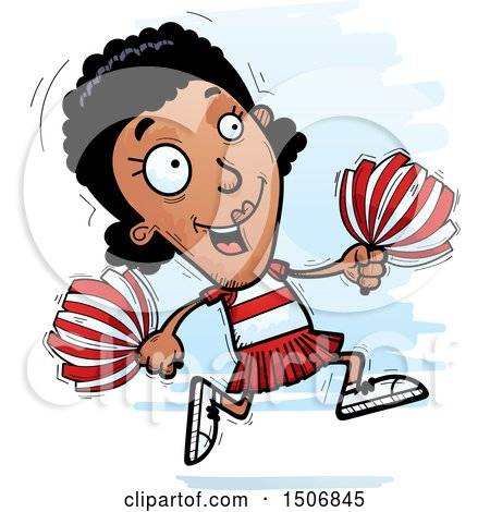 Clipart of a Running Black Female Cheeleader - Royalty Free Vector Illustration by Cory Thoman