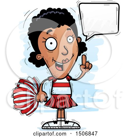 Clipart of a Talking Black Female Cheeleader - Royalty Free Vector Illustration by Cory Thoman