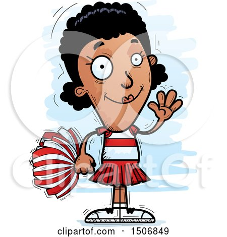 Clipart of a Waving Black Female Cheeleader - Royalty Free Vector Illustration by Cory Thoman