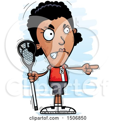 Clipart of a Mad Pointing Black Female Lacrosse Player - Royalty Free Vector Illustration by Cory Thoman