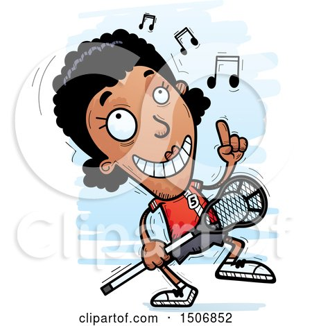 Clipart of a Happy Dancing Black Female Lacrosse Player - Royalty Free Vector Illustration by Cory Thoman