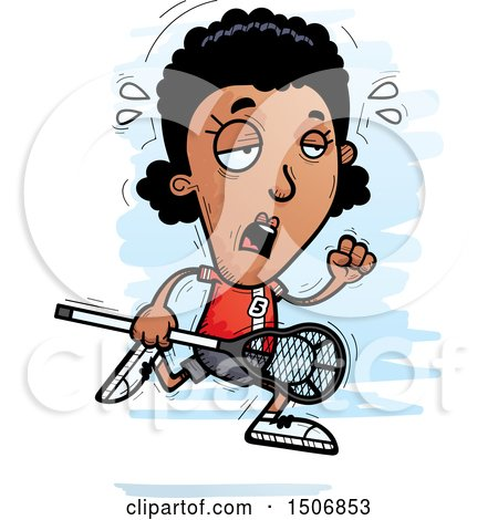 Clipart of a Tired Black Female Lacrosse Player - Royalty Free Vector Illustration by Cory Thoman