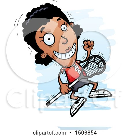Clipart of a Jumping Black Female Lacrosse Player - Royalty Free Vector Illustration by Cory Thoman