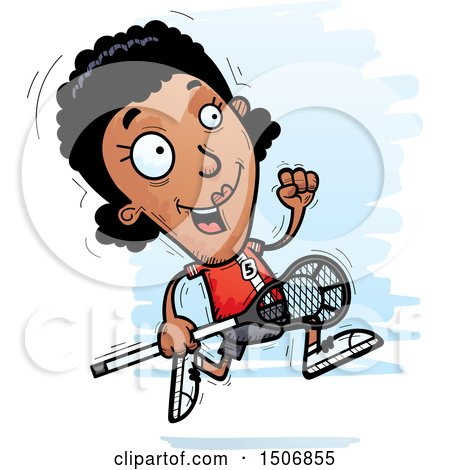 Clipart of a Running Black Female Lacrosse Player - Royalty Free Vector Illustration by Cory Thoman