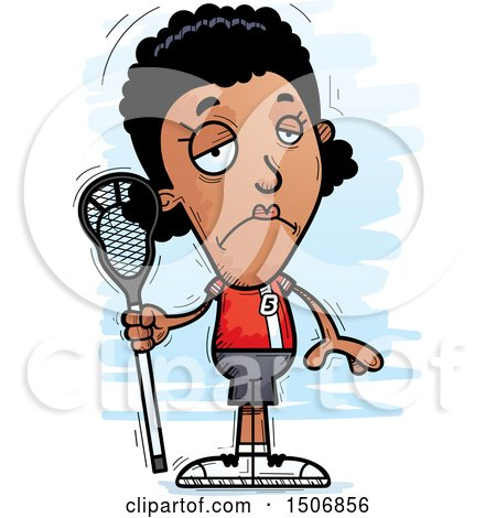 Clipart of a Sad Black Female Lacrosse Player - Royalty Free Vector Illustration by Cory Thoman