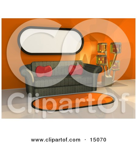 Green Patterned Couch With Two Red Throw Pillows Under A Long Window By An Artistic Lamp And An Orange Area Rug In A Modern Living Room Or Office Lobby Clipart Graphic by 3poD