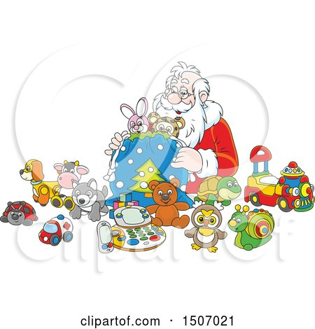 Clipart of Santa Claus Filling a Sack with Toys - Royalty Free Vector Illustration by Alex Bannykh