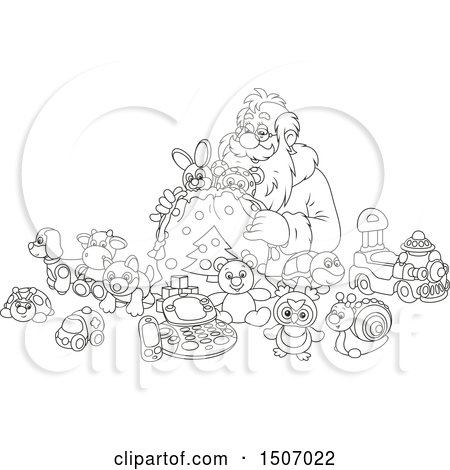 Clipart of a Black and White Santa Claus Filling a Sack with Toys - Royalty Free Vector Illustration by Alex Bannykh