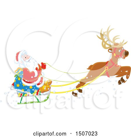 Clipart of a Single Reindeer Flying Santa Claus in a Sleigh - Royalty Free Vector Illustration by Alex Bannykh