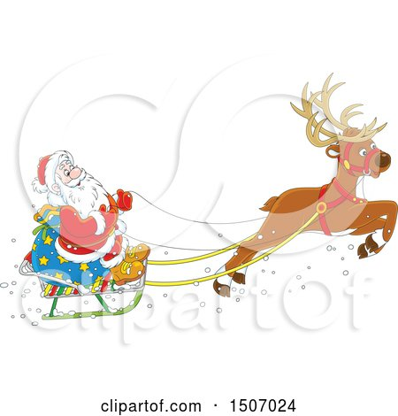 Clipart of a Single Reindeer Flying Santa in a Sleigh - Royalty Free Vector Illustration by Alex Bannykh