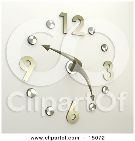 Chrome Or Silver Office Wall Clock With The Hands Pointing At 10 Minutes To 5pm Clipart Graphic by 3poD