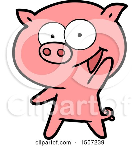 Cheerful Pig Cartoon by lineartestpilot