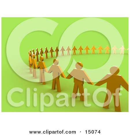 Golden People Standing Side By Side And Holding Hands While Forming A Large Circle, Symbolizing Teamwork, Support, Or Taking A Stand Clipart Graphic by 3poD