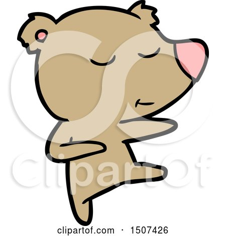 Happy Cartoon Bear Dancing by lineartestpilot