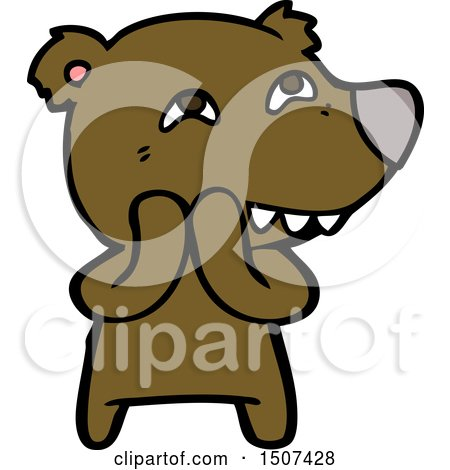 Cartoon Bear Showing Teeth by lineartestpilot