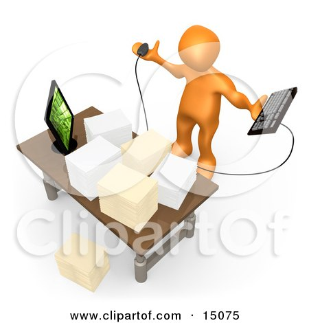Stressed Orange Employee Staring At Their Crowded Desk Topped With Stacks Of Paperwork, Trying To Figure Out Where They Can Put Their Computer Keyboard Clipart Graphic by 3poD