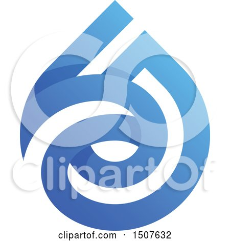 Clipart of a Blue and White Water Drop Design - Royalty Free Vector Illustration by elena
