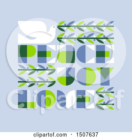 Clipart of a Dove with Peace Joy Love Text on Blue - Royalty Free Vector Illustration by elena