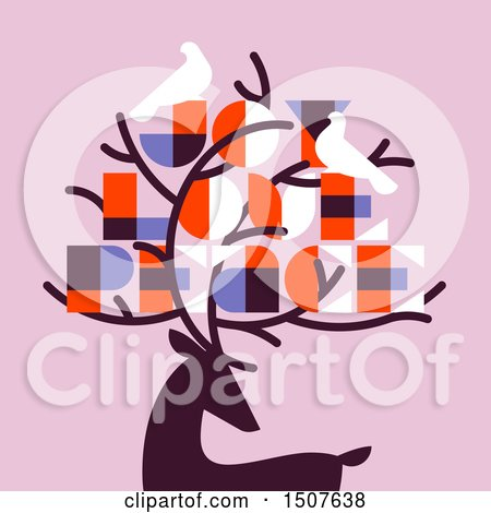 Clipart of a Silhouetted Reindeer with Doves and Joy Love Peace Text on Pink - Royalty Free Vector Illustration by elena