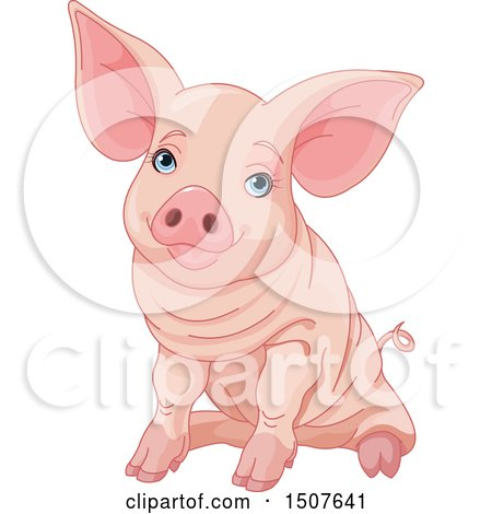 Clipart of a Cute Blue Eyed Pink Pig Sitting - Royalty Free Vector Illustration by Pushkin
