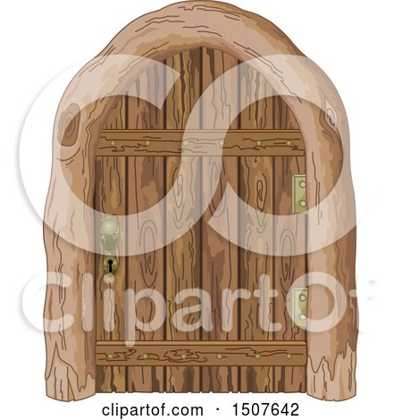 Clipart of a Wooden Door - Royalty Free Vector Illustration by Pushkin