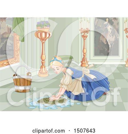 Clipart of a sad cinderella as a maid scrubbing a floor in her clipart of a sad cinderella as a maid scrubbing a floor in her home royalty free vector illustration by pushkin voltagebd Gallery
