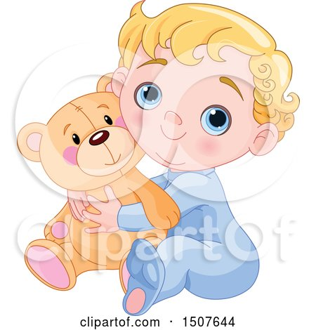 Clipart of a Blond Haired, Blue Eyed Caucasian Baby Boy Hugging a Teddy Bear and Sitting - Royalty Free Vector Illustration by Pushkin