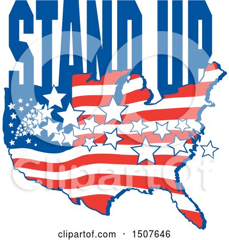 Clipart of a Patriotic American Map with Stars and Stripes and Stand up Text - Royalty Free Vector Illustration by Johnny Sajem