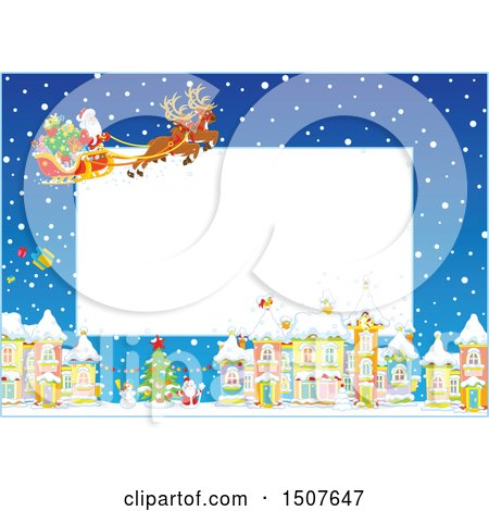 Clipart of a Christmas Frame of Santa and His Reindeer Flying a Sleigh over a Snowy Village - Royalty Free Vector Illustration by Alex Bannykh