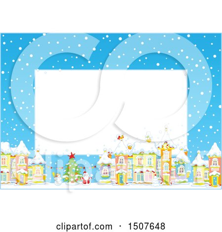 Clipart of a Christmas Border of a Snowy Village with a Snowman, Tree and Santa - Royalty Free Vector Illustration by Alex Bannykh