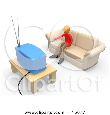 Boy Sitting On A Tan Couch And Holding A Remote Control Out To Change The Channel On His Tv In A Living Room Posters, Art Prints