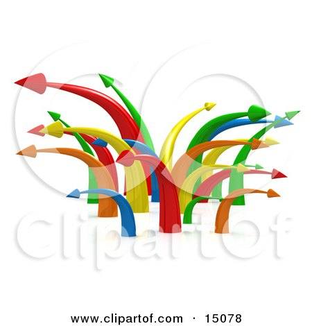 Chaotic Mess Of Colorful Arrows Going In Multiple Directions Symbolizing Confusion Or Traffic Clipart Graphic by 3poD