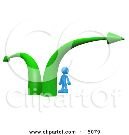 Blue Businessman Standing Between Two Green Arrows, Wondering Which Path To Take In His Business Career Clipart Graphic by 3poD