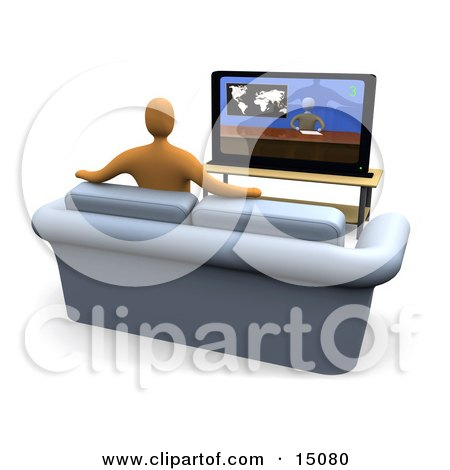 Orange Figure Sitting On A Loveseat Sofa In A Living Room And Watching The News Channel On Television While Resting His Arms On The Back Of The Couch Posters, Art Prints
