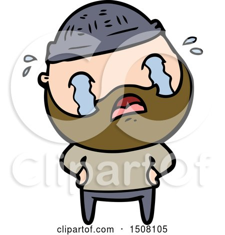 Cartoon Bearded Man Crying by lineartestpilot