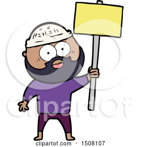 Cartoon Bearded Man with Signpost by lineartestpilot
