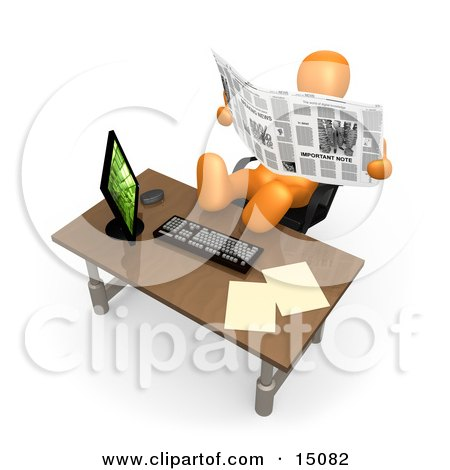 Lazy Orange Employee Or Manager Slacking While Leaning Back In Their Chair With Their Feet Up On A Computer Desk, And Reading A Newspaper Instead Of Working Clipart Graphic by 3poD