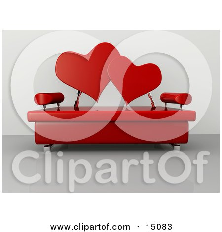 Modern Living Room Or Office Lobby Interior With A Red Love Seat Posters, Art Prints