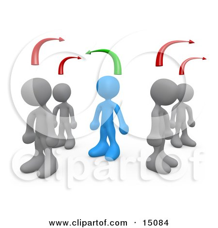 Blue Person Standing Between Two Different Rows Of Grey People, Thinking Differently From Others Clipart Graphic by 3poD