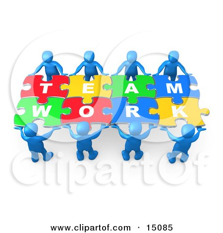 Blue 3d People Working Together To Hold Colorful Pieces Of A Jigsaw Puzzle That Spells Out Team Work Clipart Graphic by 3poD