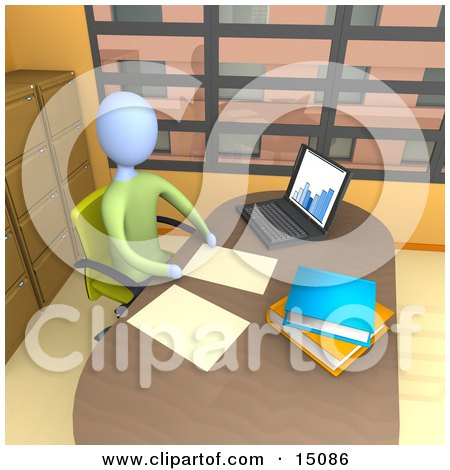 Businessperson Seated In A Chair At Their Desk By A Laptop Computer, Working On Paperwork In A Highrise Office In The City Clipart Graphic by 3poD